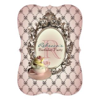 elegant  floral cupcake vintage birthday party 5x7 paper invitation card