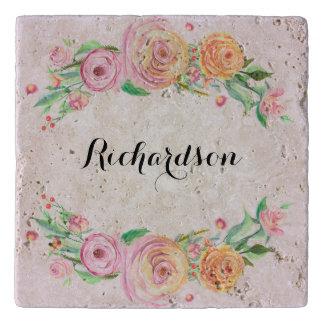 Elegant Floral Custom Name Monogram Trivet