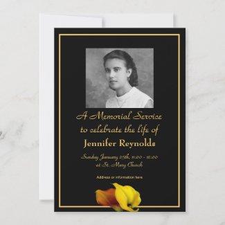 Elegant Floral Custom Photo Memorial Service Invitation