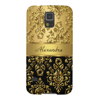 Elegant Floral Damask Black and Gold Galaxy S5 Cases