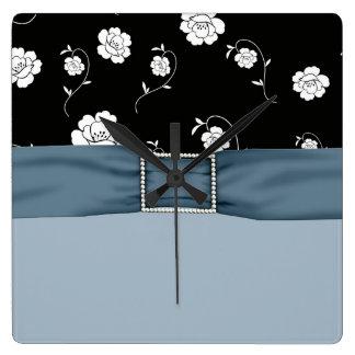 Elegant Floral Damask Blue Ribbon Clock