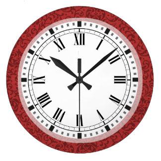 Elegant Floral Damask Inspired by William Morris Large Clock