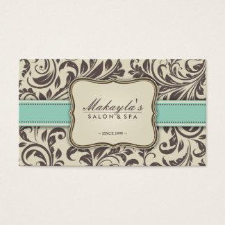 Elegant Floral Damask Modern Brown, Green & Beige Business Card