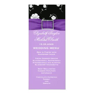 Elegant Floral Damask Purple Ribbon Wedding Menu Announcement