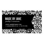 Elegant Floral Damask & Ribbon Double-Sided Standard Business Cards (Pack Of 100)