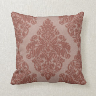 Elegant Floral Damask Throw Pillow in cinnamon