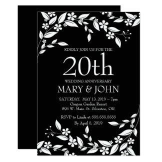 Elegant Floral design 20th Anniversary Invite