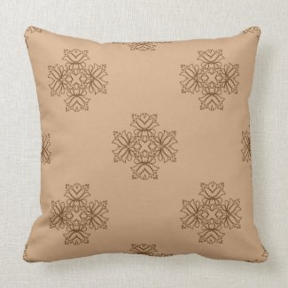 Elegant Floral Design in Brown or Any Color Pillow
