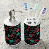 Elegant Floral design in shades of red,purple,teal Bathroom Set