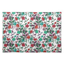 Elegant Floral design in shades of red,purple,teal Cloth Placemat