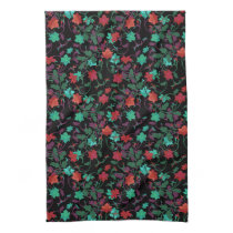 Elegant Floral design in shades of red,purple,teal Hand Towel