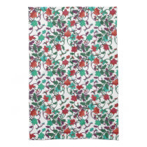 Elegant Floral design in shades of red,purple,teal Kitchen Towel