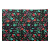 Elegant Floral design in shades of red,purple,teal Placemat