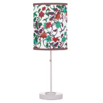 Elegant Floral design in shades of red,purple,teal Table Lamp