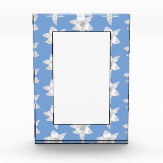 Elegant Floral Design. White Lily Flowers on Blue. Acrylic Award