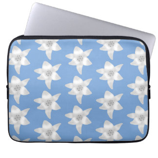 Elegant Floral Design White Lily Flowers on Blue Laptop Computer Sleeve