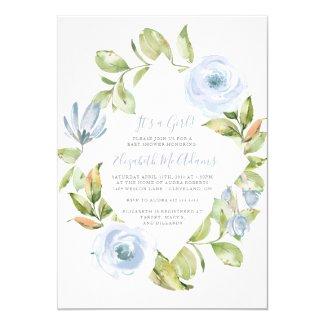 Elegant Floral Diamond Dusty Blue Baby Shower Card