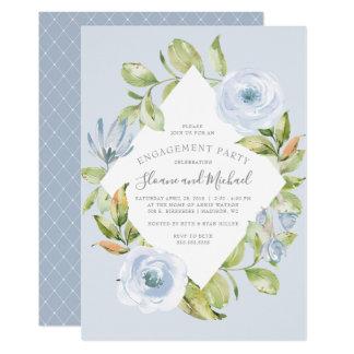 Elegant Floral Diamond Dusty Blue Engagement Party Invitation