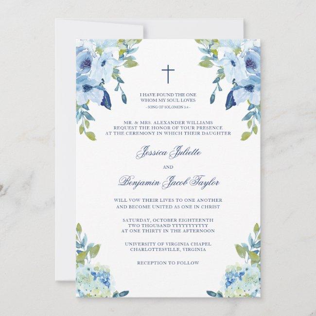 Elegant Floral Dusty Blue Christian Wedding Invitation