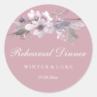 Elegant Floral Dusty Pink Wedding Rehearsal Dinner Classic Round Sticker