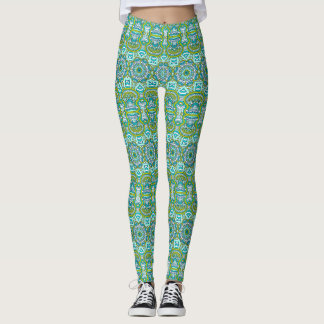 Elegant floral emerald green Boho tribal pattern Leggings