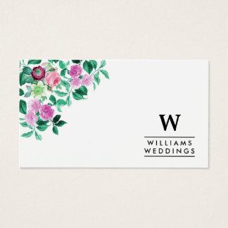 Elegant Floral Flower Wedding Event Planner Business Card