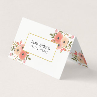 Elegant Floral Folded Business Card