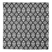 Elegant Floral Folk Art Damask Black and White Duvet Cover