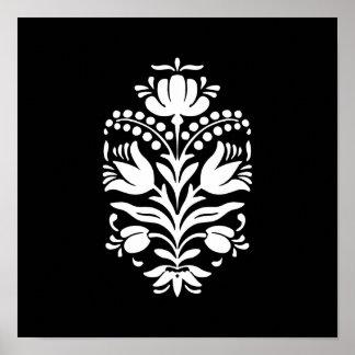 Elegant Floral Folk Art Style Pattern Poster