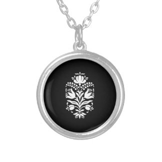 Elegant Floral Folk Art Style Pattern Silver Plated Necklace