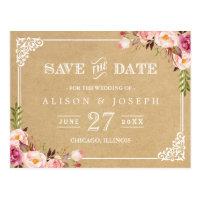 Elegant Floral Frame Kraft Wedding Save the Date Postcard