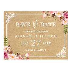 Elegant Floral Frame Kraft Wedding Save The Date Postcard at Zazzle
