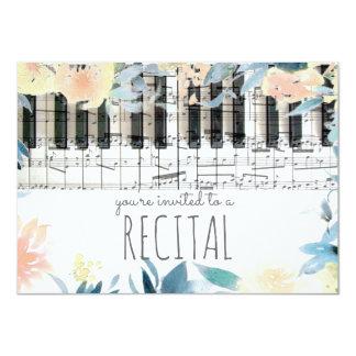 elegant floral girly music recital card