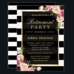 """Elegant Floral Gold Black Stripes Retirement Party Card<br><div class=""""desc"""">Elegant Floral Gold Black Stripes Retirement Party Invitation Suite. (1) For further customization, please click the &quot;customize further&quot; link and use our design tool to modify this template. (2) If you prefer Thicker papers / Matte Finish, you may consider to choose the Matte Paper Type. (3) If you need help...</div>"""