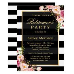 Elegant Floral Gold Black Stripes Retirement Party Card