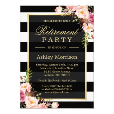 retirements Elegant Floral Gold Black Stripes Retirement Party Card