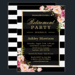 "Elegant Floral Gold Black Stripes Retirement Party Invitation<br><div class=""desc"">Elegant Floral Gold Black Stripes Retirement Party Invitation Suite. (1) For further customization, please click the &quot;customize further&quot; link and use our design tool to modify this template. (2) If you prefer Thicker papers / Matte Finish, you may consider to choose the Matte Paper Type. (3) If you need help...</div>"
