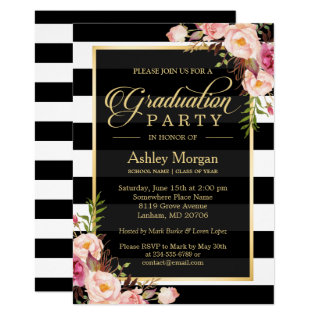 Elegant Floral Gold Black White Stripes Graduation Card at Zazzle