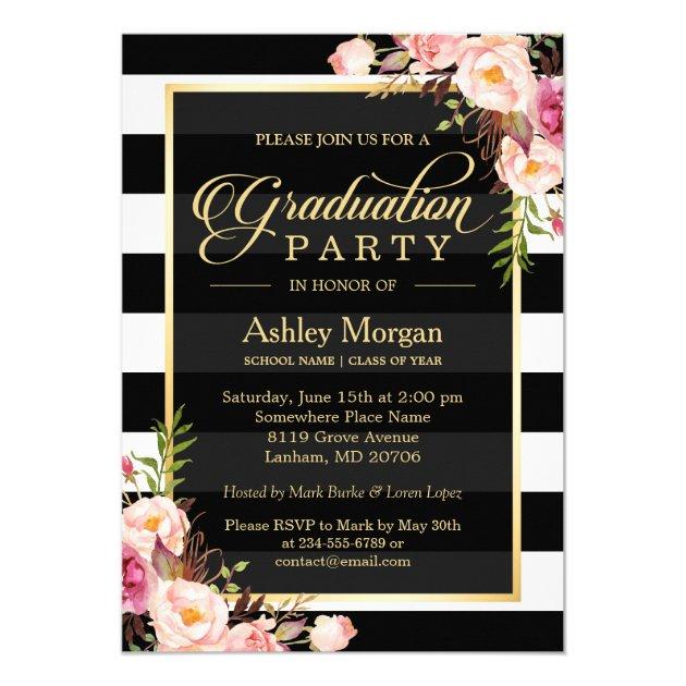Elegant Floral Gold Black White Stripes Graduation Card (back side)
