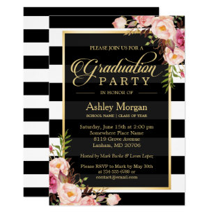 Black and white graduation invitations zazzle elegant floral gold black white stripes graduation invitation filmwisefo