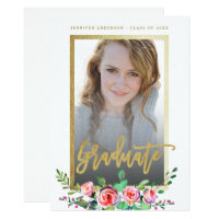 Elegant Floral Gold Chic Photo Graduation Party Card