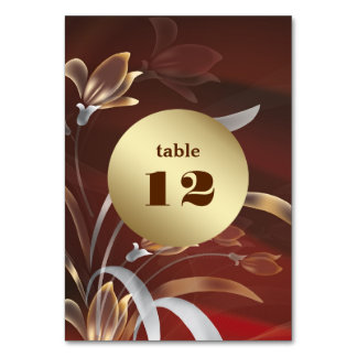 Elegant Floral | Gold design Table Number Cards