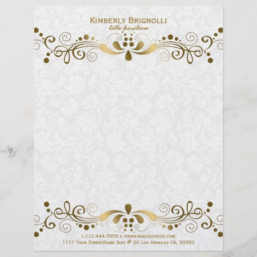 Elegant Floral Gold Lace With White Damasks 2 Letterhead