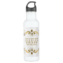Elegant Floral Gold Lace With White Damasks 2a Water Bottle