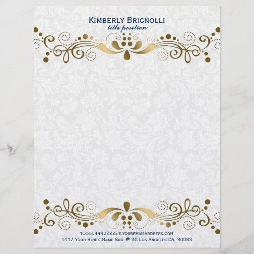 Elegant Floral Gold Lace With White Damasks Letterhead