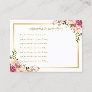 Elegant Floral Gold Lash Salon Aftercare Card