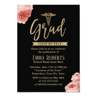 Elegant Floral Gold Medical Nurse Graduation Party Card