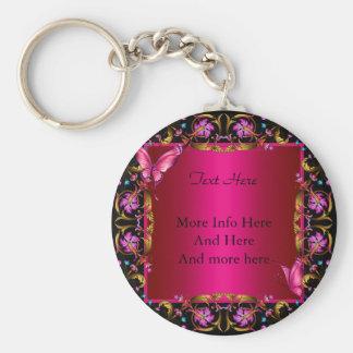 Elegant Floral Gold Pink Black Butterfly Basic Round Button Keychain