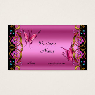 Elegant Floral Gold Pink Black Butterfly Business Card