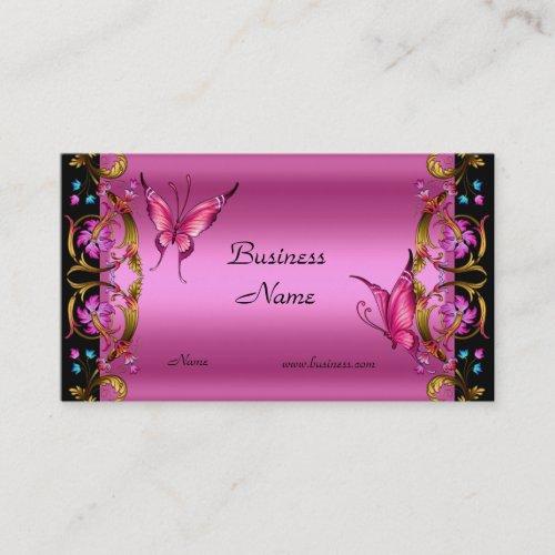 Elegant Floral Gold Pink Black Butterfly Business Card